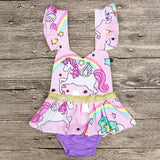 Puff Sleeve Unicorn Romper Dress-Lilypond Kids