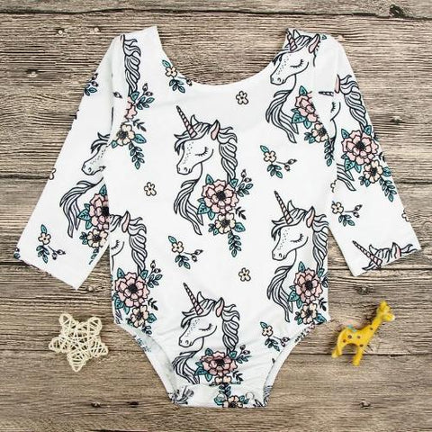 Baby Girls White Long Sleeve Onesie - Unicorn Print-Lilypond Kids