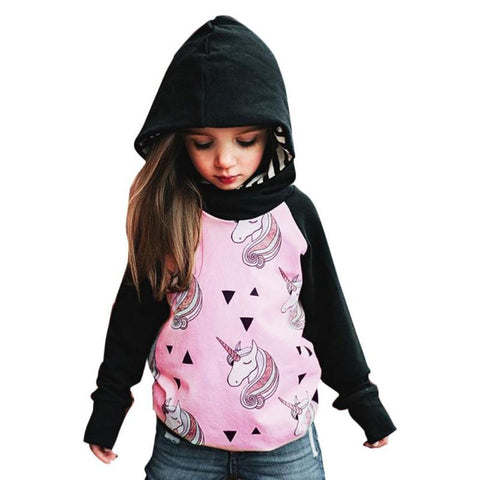 Girls Hooded Unicorn Sweatshirt-Lilypond Kids