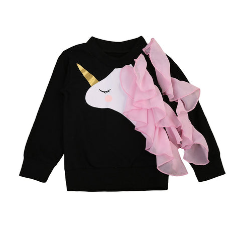 Girls Unicorn Sweatshirt - Ruffle Sleeve-Lilypond Kids