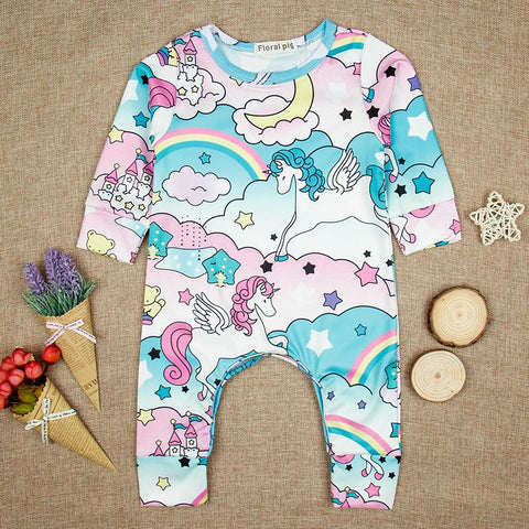 Girls Long Sleeve Cotton Romper - Unicorns & Rainbows Print-Lilypond Kids