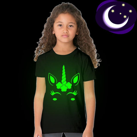 Girls Unicorn Glow In The Dark Tee Shirt-Lilypond Kids
