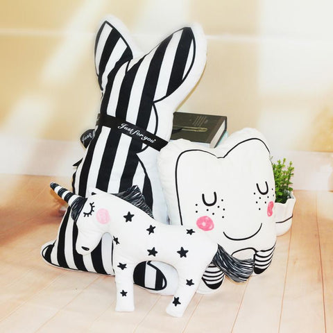Nordic Unicorn-Teeth-Striped Rabbit Decorative Cushions-Lilypond Kids