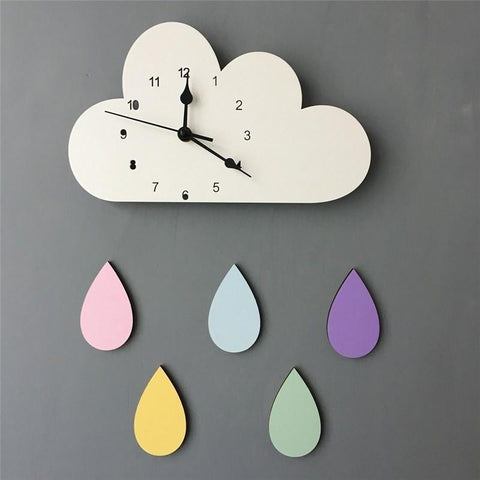 Nordic Style Wooden Cloud & Raindrop Wall Clock-Lilypond Kids