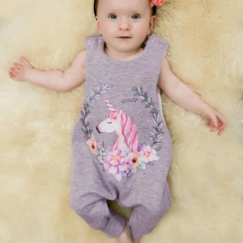 Girls Sleeveless Cotton Romper - Pretty Unicorn-Lilypond Kids