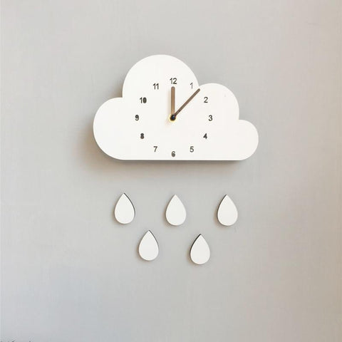 Nordic Style Wooden Elephant or Cloud & Raindrop Wall Clocks-Lilypond Kids