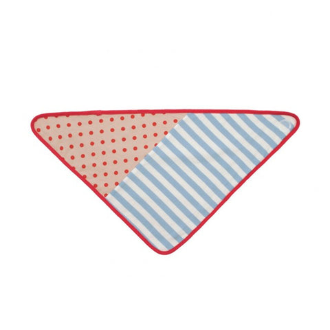 Organic Farm Buddies - Blue Stripe & Brown Polka Dot Bandana Bib-Lilypond Kids