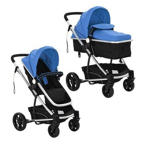 2 in1 Baby Stroller Pram Aluminium Blue and Black-Lilypond Kids