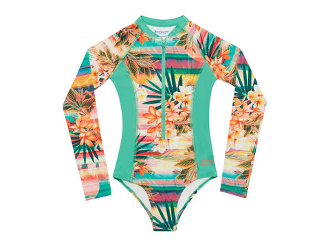 Long Sleeve Surf Tank - Sunset Print With Frangipanis-Lilypond Kids