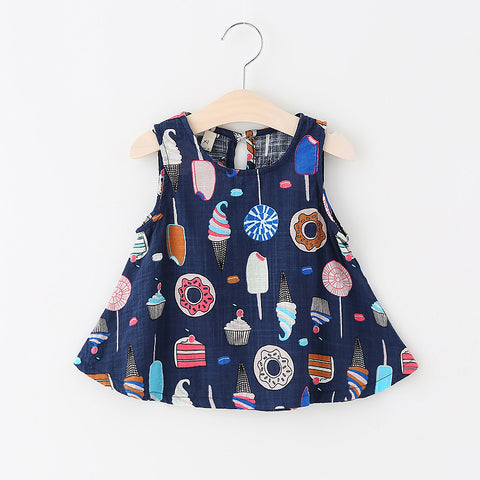 Sleeveless Cotton Summer Baby Dress - Ice Cream Print-Lilypond Kids