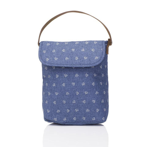 Double Bottle Holder/Food Bag - Origami Heart Mid Blue-Lilypond Kids