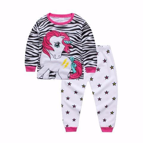 Unicorn With Zebra Stripe Girls Pyjamas-Lilypond Kids