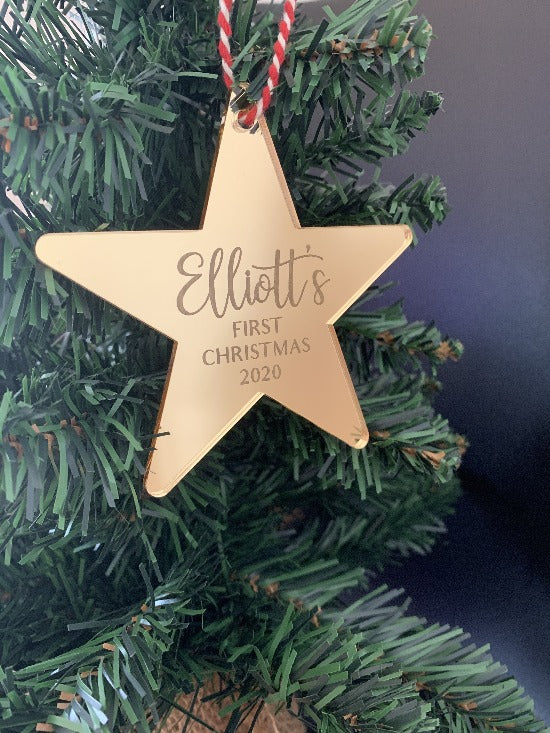 Personalised Mirrored 'My First Christmas' Star Ornament