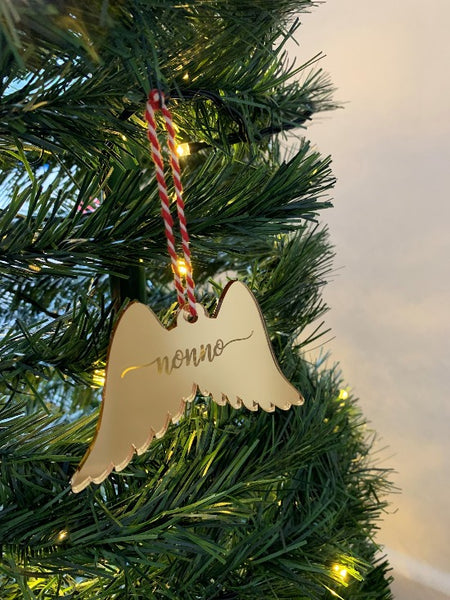 Personalised Angel Wings Christmas Bauble