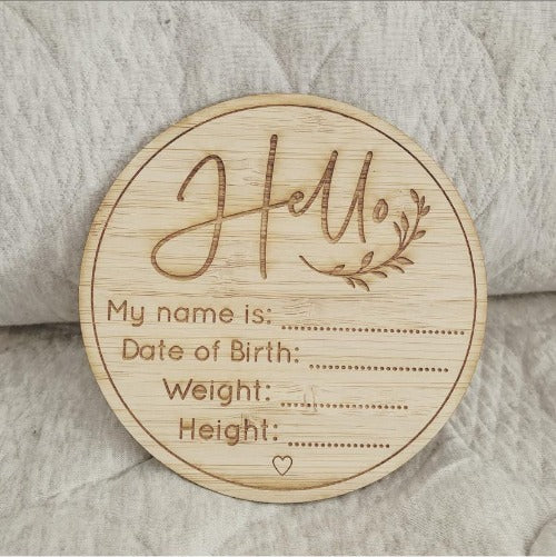 Baby Birth Plaque - Bamboo