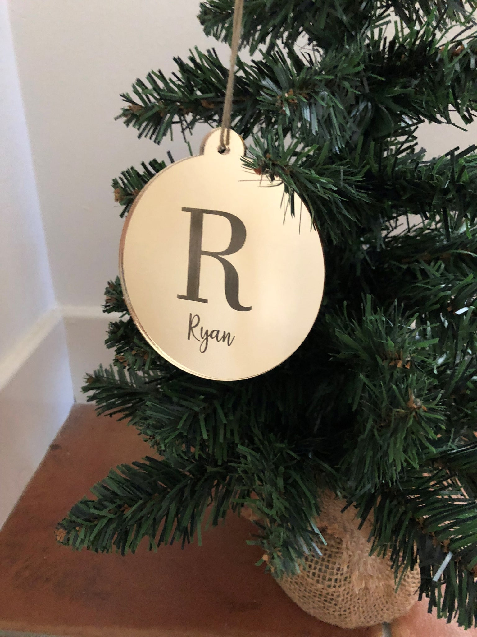 Personalised Mirrored Christmas Bauble - Simple