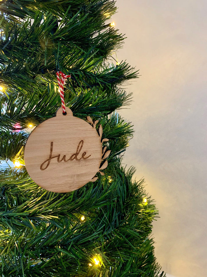 Personalised Leafy Christmas Bauble