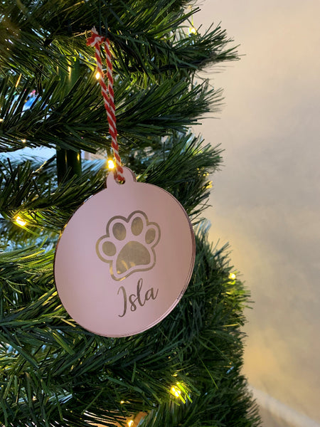 Personalised Paw/Pet Christmas Bauble