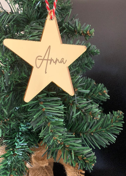 Personalised Mirrored Star Christmas Ornament
