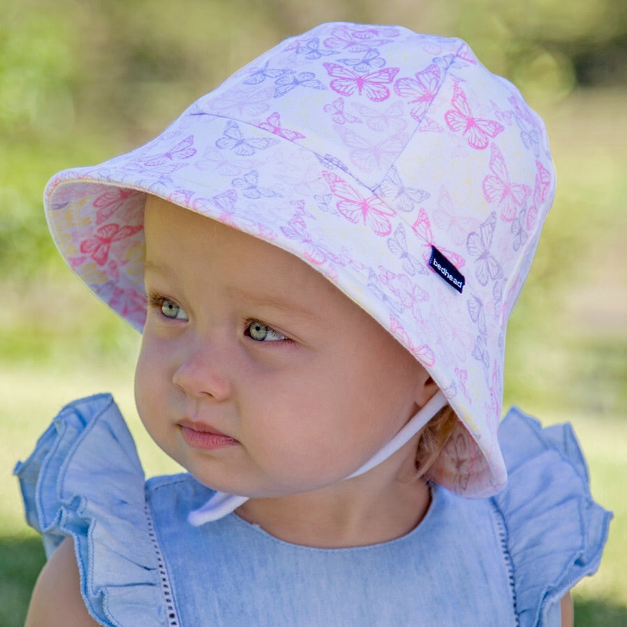 Girls Baby Bucket Hat 'Butterfly' Print UPF50+ Baby Sun Hat with Chin Strap