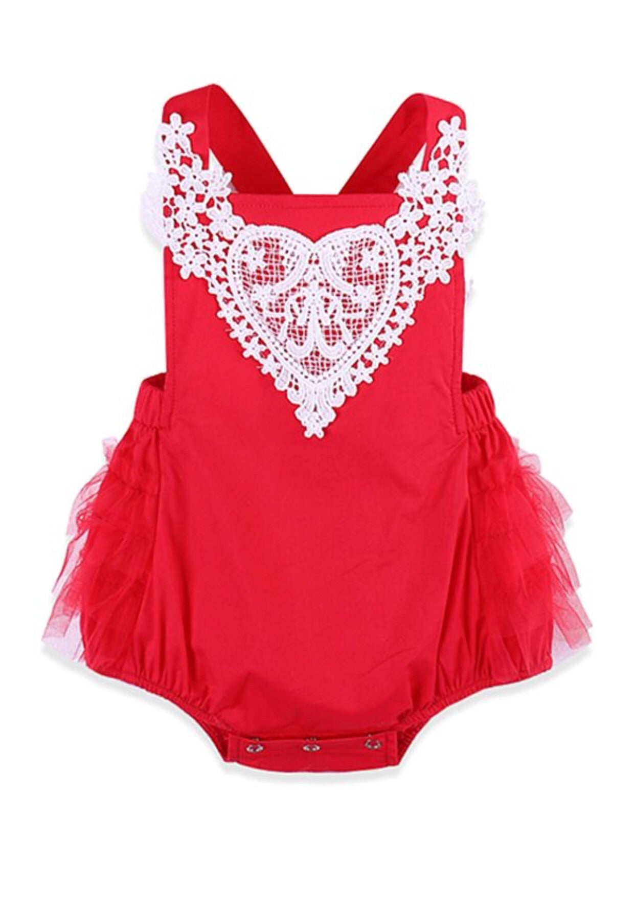 Isabella- Red Lace Romper