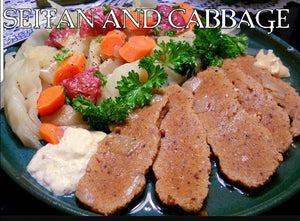 Corn beef seitan with cabbage