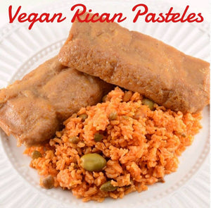 12 Vegan Rican Pasteles (Comes with yellow rice and red beans or arroz con gandules)