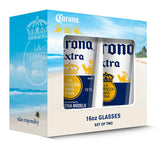 Corona Extra Caps Pub Glass (Set of 2), Clear