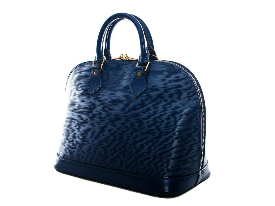 Meghan Epi Leather Top Handle Bag with Padlock - Dark Blue Alma Vuitton luxury elegant quality handbag
