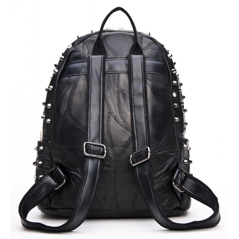 Nicky Skull Studded Lambskin Leather Backpack - Black