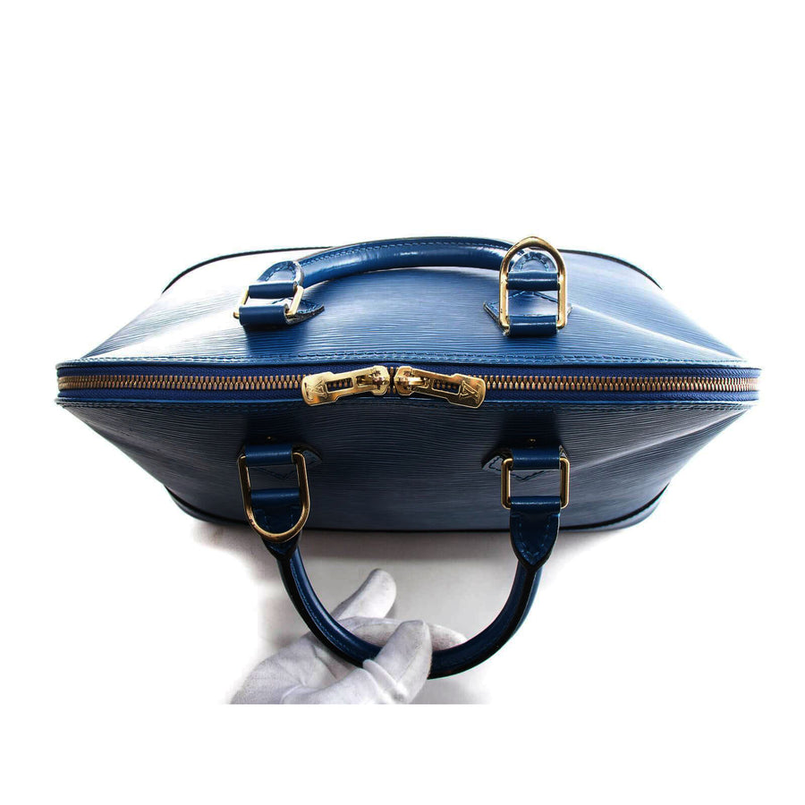 Meghan Epi Leather Top Handle Bag with Padlock - Dark Blue