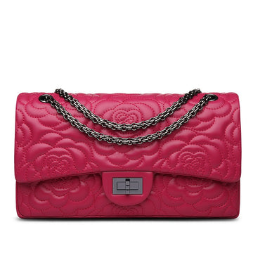 Candice Flower Embroidered Lambskin Leather Shoulder Bag - Rose Red