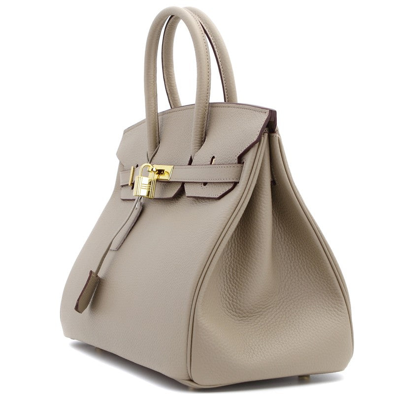Phoebe Authentic Cowhide Leather Top Handle Bag with Padlock - Taupe Gold