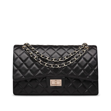 Rosaire Quilted Lambskin Leather Double Flap Shoulder Bag with Leather-Woven Gold-tone Chain Strap