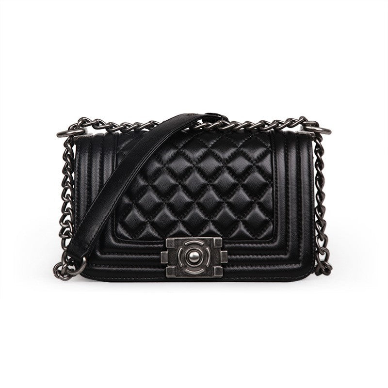 Rose Quilted Lambskin Leather Shoulder Bag with Chain