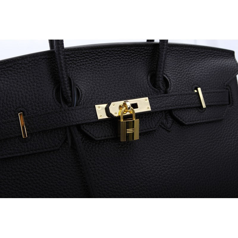 Hallie Authentic Cowhide Leather Top Handle Bag with Padlock - Black