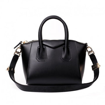 Rosaire Calfskin Leather Satchel Top Handle Bag Trapezoid Shape in Black Color