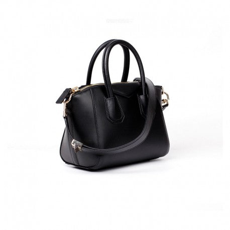 Kylie Calfskin Leather Top Handle Trapezoid Bag - Black