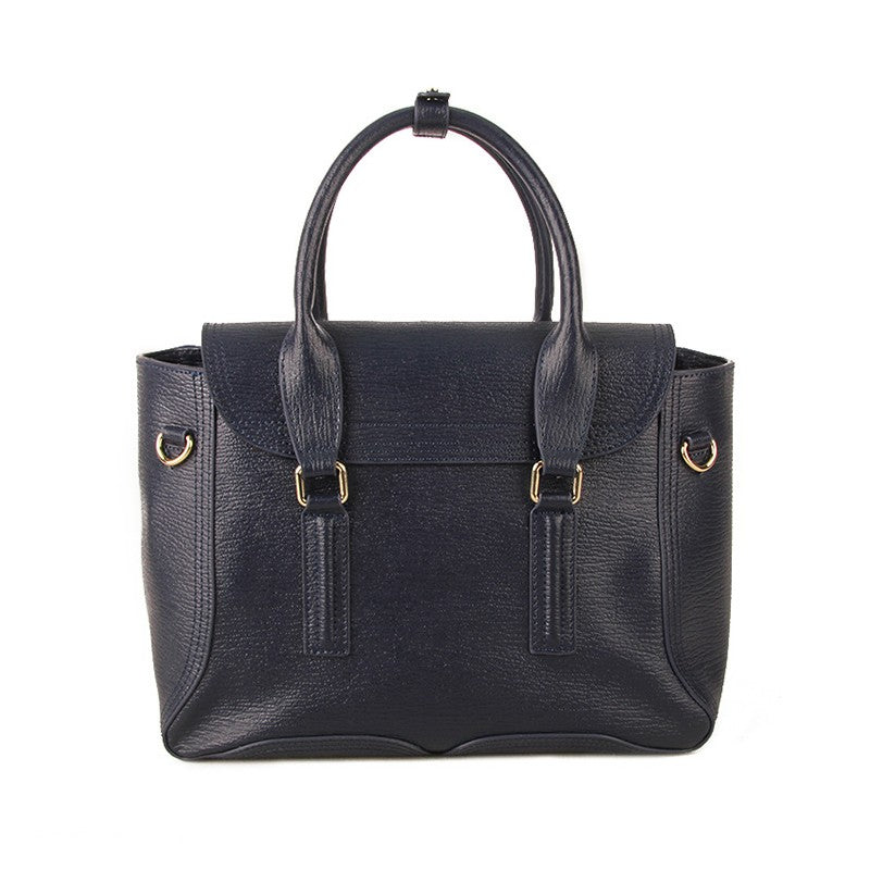 Dakota Genuine Cowhide Leather Satchel Bag - Ink Blue