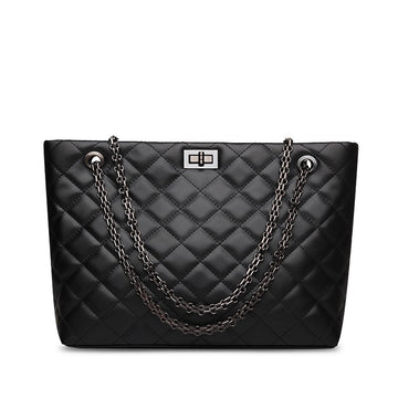 Rosaire Quilted Tote Bag Cowhide Leather with Chain Shoulder Strap in Black Color