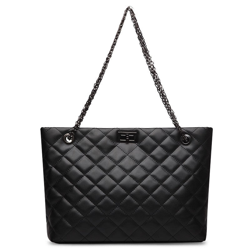 Alexa Quilted Cowhide Leather Tote Bag with Chain Shoulder Strap - Black