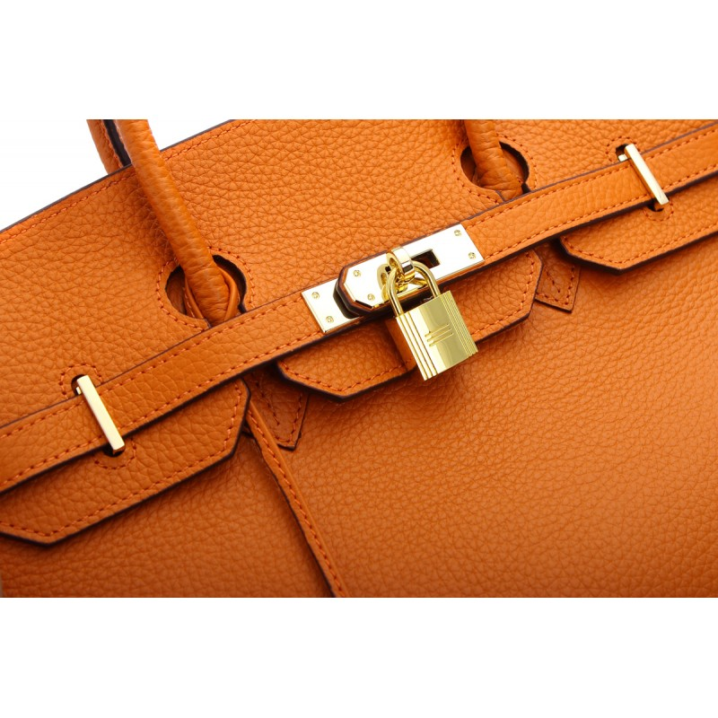Robyn Authentic Cowhide Leather Top Handle Bag with Padlock - Orange