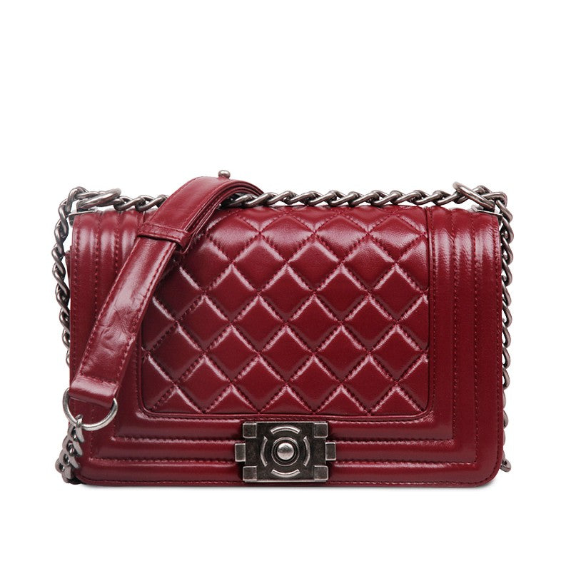Lilly Classic Quilted Authentic Leather Shoulder Bag - Red Wine