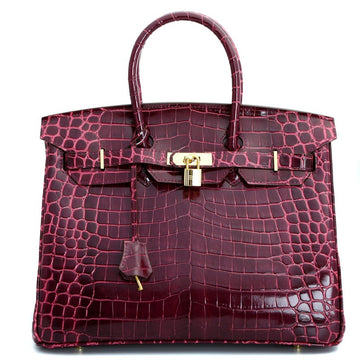 Victoria Authentic Crocodile Pattern Cowhide Leather Top Handle Bag with Padlock - Purple