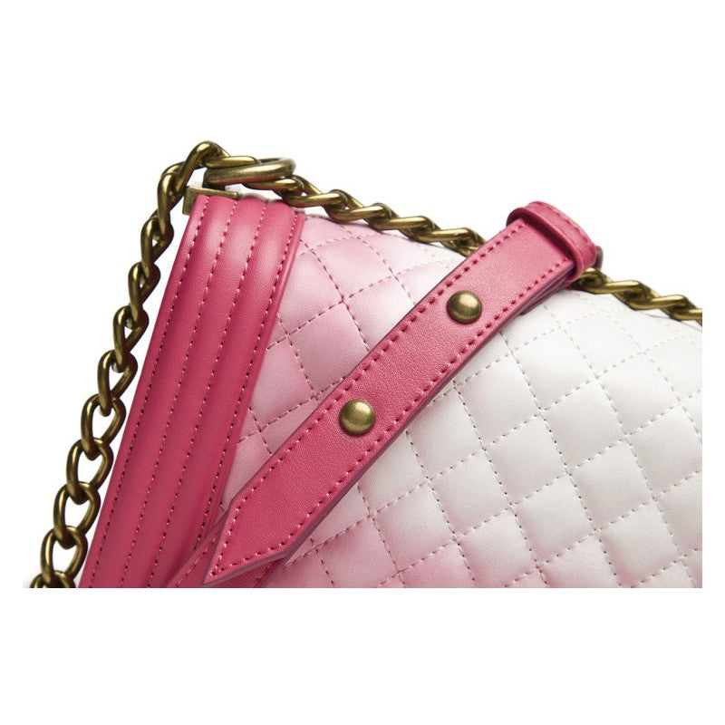 Ariana Classic Quilted Authentic Leather Shoulder Bag - Red White