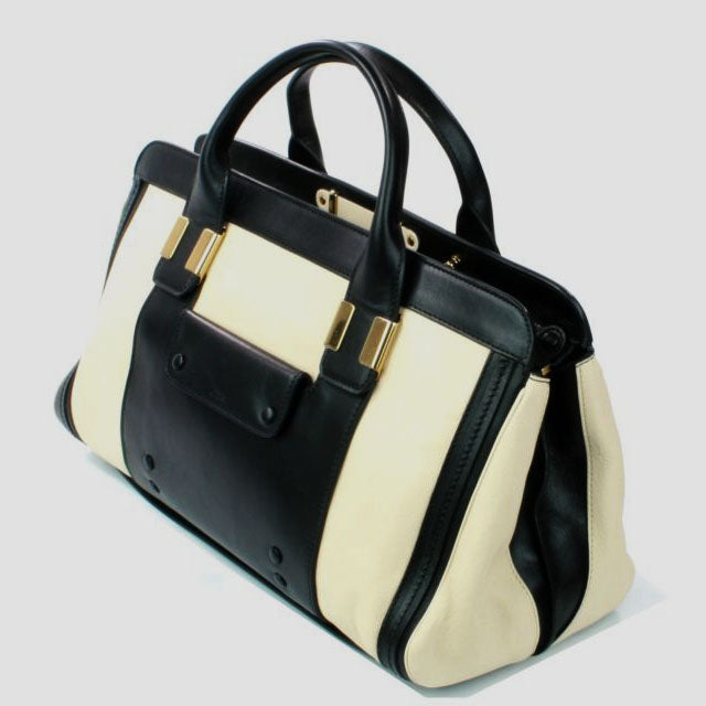 Pippa Authentic Leather Satchel Bag - Black Beige