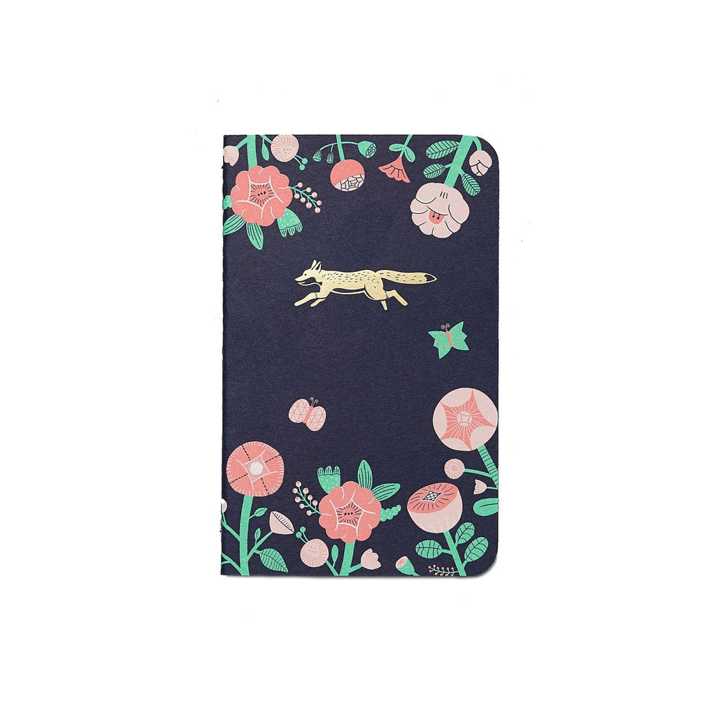 FLOWER AND GOLD FOX EMBLEM POCKET NOTEBOOK