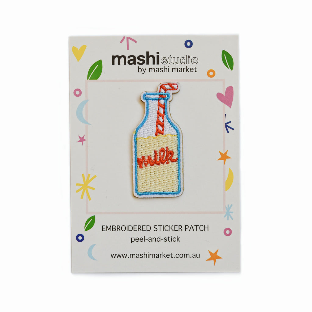 MILK BOTTLE EMBROIDERED STICKER PATCH