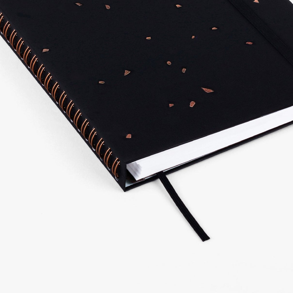 BLACK SPECKLE WIREBOUND SKETCHBOOK- MIXED MEDIA PAPER