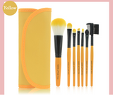 PROFESSIONAL 7 PCS SYNTHETIC HAIR MAKEUP BRUSHES SET WITH TOILETRY KIT WOOL